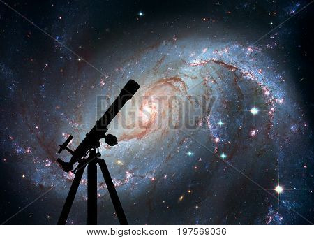 Space Background With Silhouette Of Telescope. Stellar Nursery N