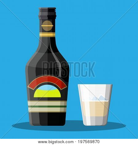 Bottle of chocolate coffee cream liquor and glass with cubes of ice. Liquor alcohol drink. Vector illustration in flat style