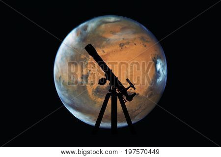 Space Background With Silhouette Of Telescope. Mars Planet, Isolated On Black..elements Of This Imag