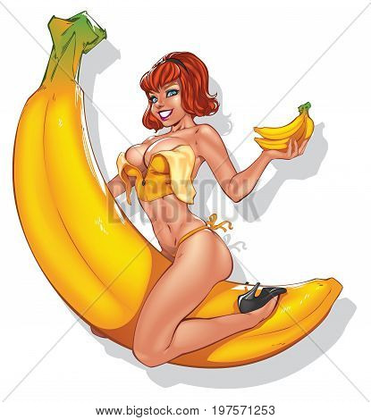 A sexy pinup girl is sitting on a giant banana ,vector file