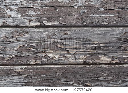 Old Planks Fence With  Peeling Brown Varnish Texture - Wall Background