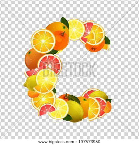 Citrus fruits - lemons, oranges, tangerines and grapefruits highest in vitamin C composing C letter shape. Nutrition and healthy eating concept. Vector illustration isolated on transparent background.