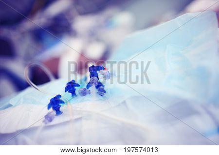 Group of the intravenous catheter valves. Macro photo