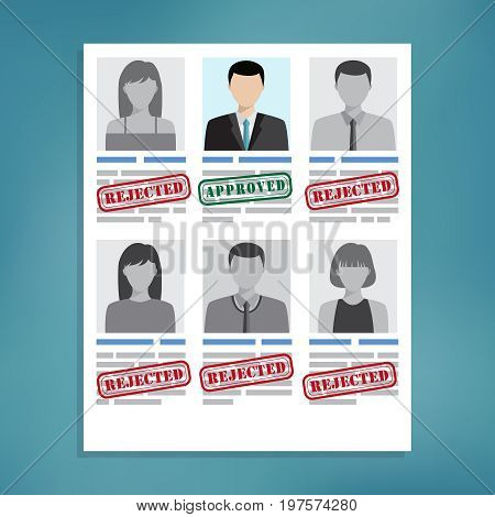Approved and rejected resumes. Candidate selection for good work.