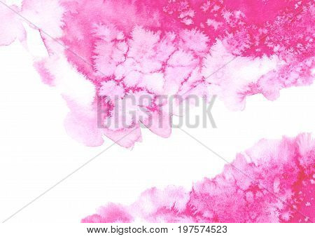 Abstract pink watery frame.Aquatic backdrop.Ink drawing.Watercolor hand drawn image.Wet splash.White background.