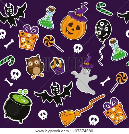 pumping and cute halloween icons seamlles pattern background