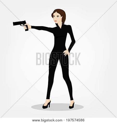 Secret service female agent in black suit shooting with revolver. Sexy woman on duty. Beautiful vector illustration in cartoonish comics style isolated on white background.