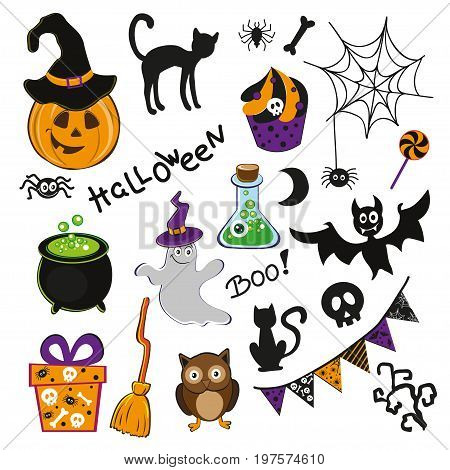 Set of cute halloween icons bat black cat pumpkin spider skull. Collection of scrapbooking elements for halloween party