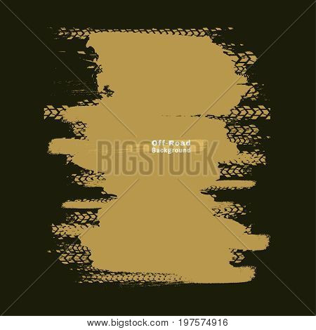 Tire tracks vector illustration. Grunge automotive background useful for poster, print, flyer, book, booklet, brochure and leaflet design. Editable graphic image in dark green and beige earth colors.
