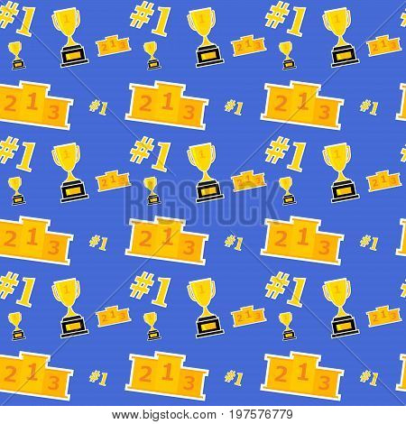 Vector illustration. A seamless pattern with a prize cup and a congratulatory pedestal Number one