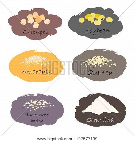 Vector set of cereal and grain emblems. For packing groats, kitchen jar prints, advertising healthy food. Chick-pea, soybean, amaranth, quinoa, semolina, and fine-ground barley