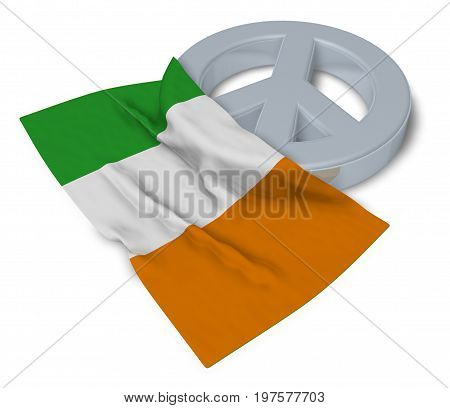 peace symbol and flag of ireland - 3d rendering