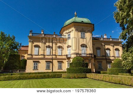 Baroque chateau Buchlovice in the Czech Republic. Classical baroque building. Tourism in Central Europe. Ornamental gardens