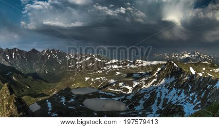 Azgara river originates in this mountain lakes. Ridge Abushura Akhuba. Caucasus mountains. Karachay-Cherkessia. Russia.
