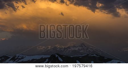 Dramatic overcast sky  before storm. Greater Caucasus Mountain Range. Karachay-Cherkessia. Russia.