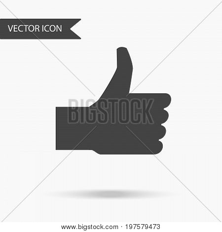 Icon with the image of a man's hand with a thumb up on white background. The flat icon for your web design logo UI. Vector illustration.