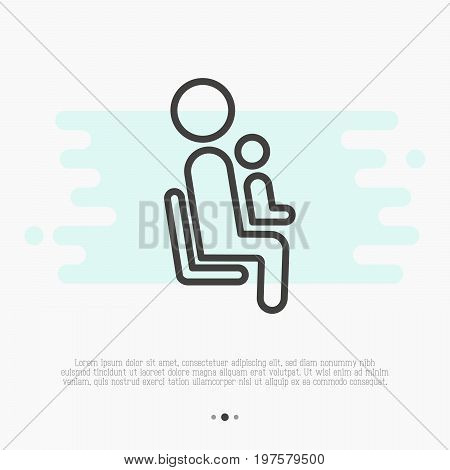 Thin line icon of priority seat for mother with child. Vector illustration.