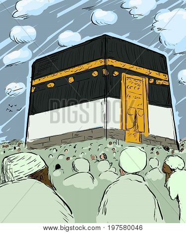 Crowds Of Pilgrims Around The Kaaba In Mecca