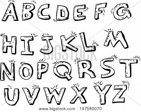Outlined Shiny English Letters