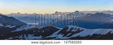 Dawn high in mountain. Greater Caucasus Mountain Range. Karachay-Cherkessia. Russia.