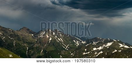 Ridge Abushura Akhuba in the wake of a storm. Caucasus mountains. Karachay-Cherkessia. Russia.