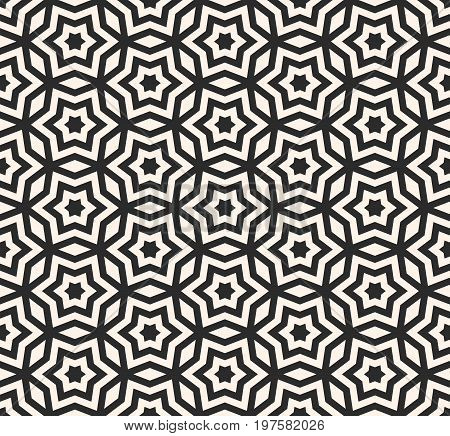 Stars pattern. Vector seamless pattern, geometric ornament texture with linear stars, angular geometric figures. Abstract geometric monochrome background, repeat tiles. Design element for prints, wrapping, textile.