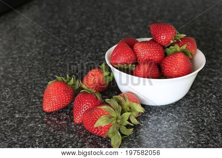 Ripe Strawberries On A Table.