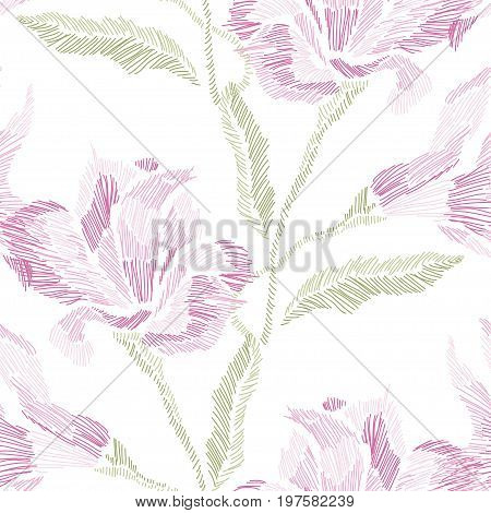 Elegant seamless pattern with hand drawn decorative lily flowers design elements. Floral pattern for wedding invitations cards wallpapers scrapbooking print gift wrap manufacturing. Embroidery