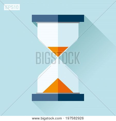 Hourglass icon in flat style, sandglass on blue background. Vector design element for you project