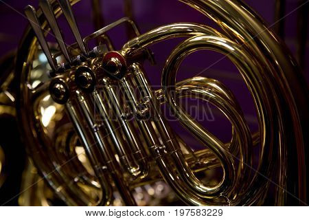 Shiny french horn close up no people interior design detail