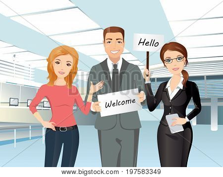 A group of people meet someone in the airport hall, welcome, hello. Flat design, vector cartoon illustration