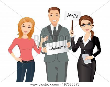 Group of people meet someone / Two women and a man greet someone with broadsheets. Flat design, vector cartoon illustration