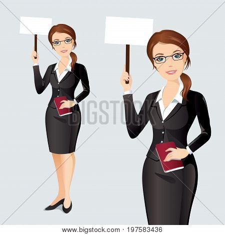 Elegant businesswoman holding a poster with space for your text or product. Flat design, vector illustration.