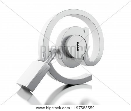 3d illustration. Mail sign with lock and padlock. E-mail Safety concept. Isolated white background