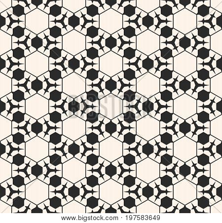 Vector monochrome seamless pattern. Abstract geometric background. Delicate linear texture with prickly figures, triangles, hexagons. Subtle hexagonal grid. Repeat design element for prints, decor.