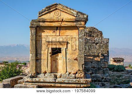 Beautiful scenic view of Necropolis of Hierapolis in Turkey