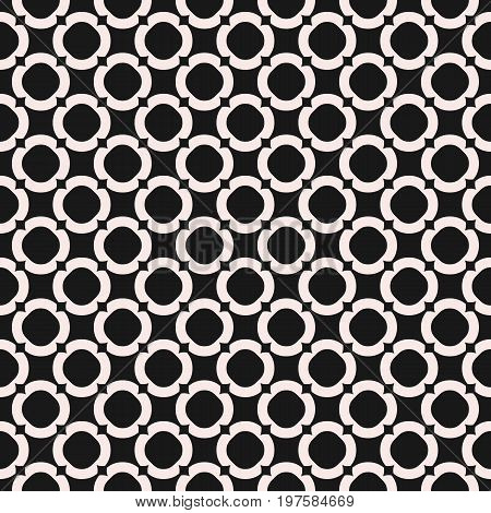 Circles background, vector monochrome texture, abstract geometric seamless pattern with circular lattice. Old style fashion. Contrast repeat design for prints, decor, furniture, textile, embossing.