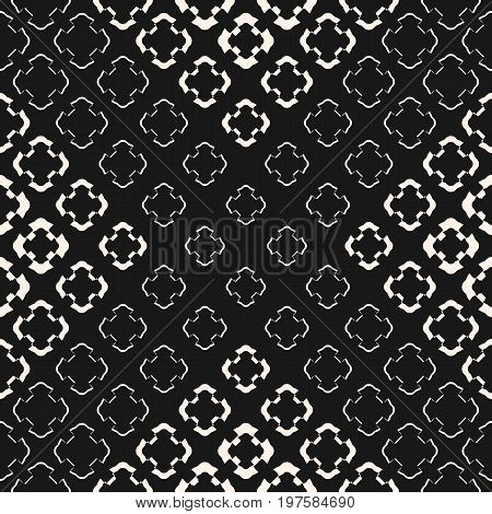 Halftone texture. Seamless pattern, gradient transition effect from dark to light. Geometric background with crossing floral shapes. Stylish dark design for prints, tiling, wrapping. X pattern, cross pattern.