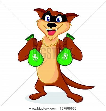 Weasel Cartoon Mascot As A Thieft Carrying Money Bags