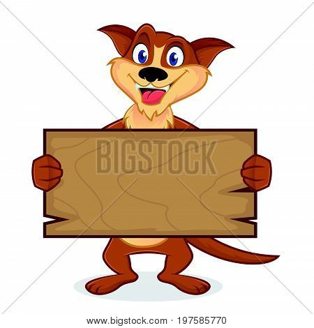 Weasel Cartoon Mascot Holding Wooden Plank
