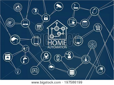Smart home automation vector background with house icon