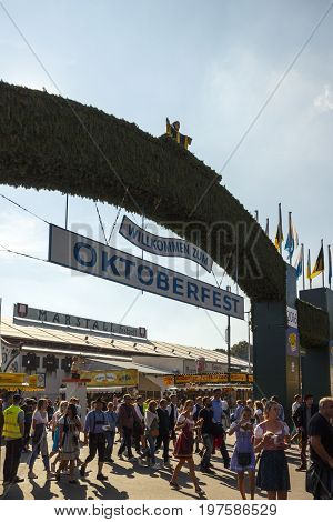 Munich, Germany - September 24, 2016: Main entrance of the Theresienwiese to the Oktoberfest in Munich