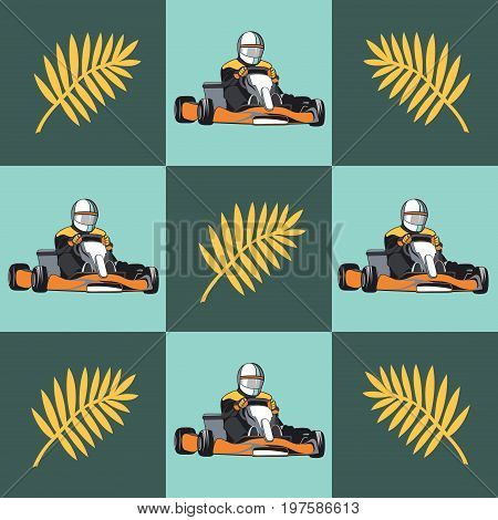 Karting. Kart with racer and palm branch on the green gray background. Pattern. Flat design, vector illustration
