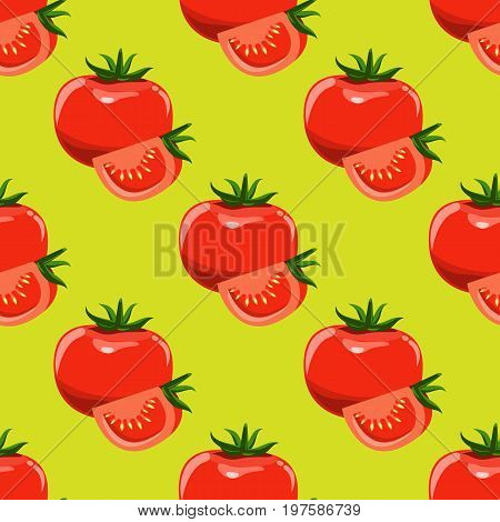 Tomatoes and slices of tomato seamless background. Flat and solid color design. Vector illustration.
