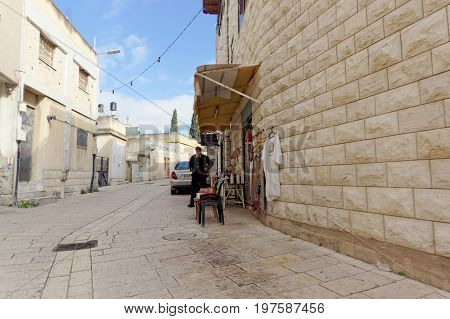 Kfar Kana, Israel. - February 17.2017. Street Trade In Goods For Pilgrims And Tourists In Cana Of Ga
