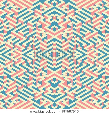 Abstract seamless pattern in isometric style. A picture maze. Mirror image.