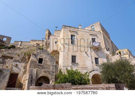 View of buildings of Sassi of Matera Basilicata Italy