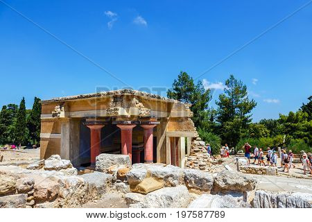 Knossos Crete June 10 2017: Scenic ruins of the Minoan Palace of Knossos. Knossos palace is the largest Bronze Age archaeological site on Crete of the Minoan civilization and culture