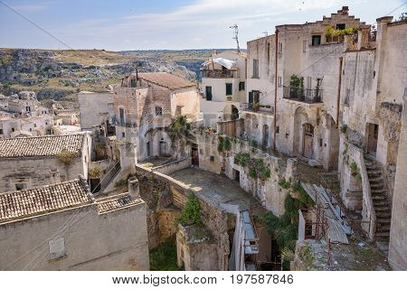Buildings of Sassi of Matera Basilicata Italy