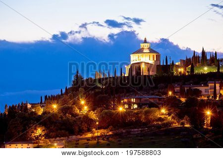 Madonna Di Lourdes Sanctuary In Verona Evening View